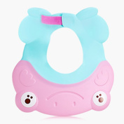 TAMUME Pink Adjustable Baby Shampoo Eye Shield, Silicone Hair Washing Cap and Shower Hat to Protect Baby Eyes, Kid Shower Hat, Soft Touch for Bathing