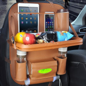 MIHAZ - Brown - Luxury Leather Car Back Seat Organiser with Tablet Holder - Touch Screen Pocket for Android & iOS Tablets - Multipurpose Use as Auto Seat Back Protector, Kick Mat, Car Organiser, Paper Drawer, Cup Holder