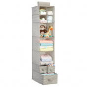 mDesign Hanging Wardrobe Organiser - No Drilling Needed - Hanging Organiser for Playroom Storage - for Clothes, Blankets & Baby Products - Practical Floating Shelves - Taupe / Natural
