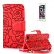 For iPhone 6 Plus/6S Plus Case Cover [with Free Screen Protector], Funyye Elegant Premium Folio PU Leather Wallet Magnetic Flip Cover with [snap fastener] and [Credit Card Holder Slots] Stand Function Book Type Stylish Rose Printting Designs Full Prote ..