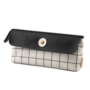 Checkerboard Pattern Canvas PU Leather Pencil Case Coin Purse Cosmetic Makeup Bag Stationery Storage Pouch Pen Bag for Girls Boys School Black