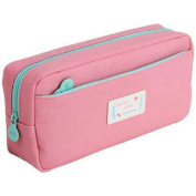 Solid Colour Canvas Pencil Case Coin Purse Cosmetic Makeup Bag Stationery Storage Pouch Pen Bag for Girls School Pink