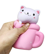 Pizies Squishy Toys, Jumbo Slow Rising Squishies, Stress Relief Super Soft Cute Cup Cat, 14CM, Pink