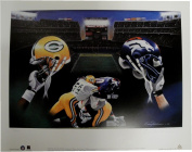 Greenbay Packers Denver Broncos 19x24 Unsigned Lithograph Poster Print New
