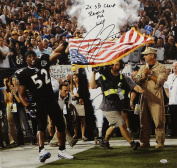 Ray Lewis Signed Ravens 20x24 Holding Flag Canvas W/ Ravens For Life- JSA Auth