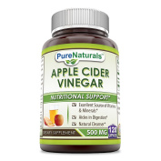 Pure Naturals Apple Cider Vinegar 500 mg 120 Capsules Manufactured in a USA Based GMP Certified Facility and Third Party Tested for Purity. Guaranteed!!