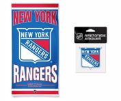 NHL New York Rangers 80cm x 150cm Towel and 10cm x 10cm Perfect Cut Decal SET