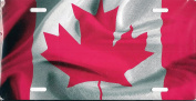 Canadian Canada Flag Metal Photo Licence Plate Tag