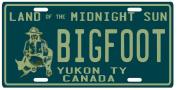Bigfoot Yeti Sasquatch Metal Yukon Territory 1950's Canada Licence Plate
