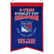 New York Rangers NHL 4-Time Stanley Cup Champions Wool Banner