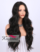 K'ryssma Dark Brown Synthetic Wigs for women - Natural Looking Long Wavy Right Side Parting Heat Resistant Replacement Wig 60cm