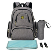 Lightweight 16 Pockets Water-resistant Backpack Nappy Bag with Insulated Bottle Pockets and Changing Mat, Heather Grey