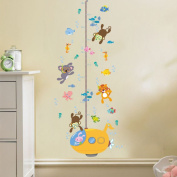 DNVEN (60cm w x 120cm h) DIY Tiger Bear Monkeys Diving under Sea Animals Children Grows up Height Measurement Growth Chart Measures with Quote Wall Stickers Decals for Kids Room
