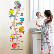 DNVEN (50cm w x 160cm h) Various Cute Elephants DIY Animals Children Grows up Height Measurement Growth Chart Measures with Quote Wall Stickers Decals for Kids Room