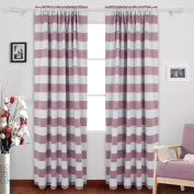 Deconovo Nautical Blackout Curtains Rod Pocket Blackout Window Curtains for Kids Room 52W X 95L with Wave Stripe Pattern Light Lilac 2 Drapes