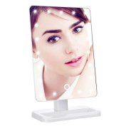 Makeup Mirror,20 LED Lights Touch Screen Lighted Tabletop Cosmetic White