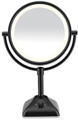 Makeup Mirror,Variable Lighted 1X/10X Dual Sided Makeup Vanity Cosmetic Mirror in Black
