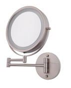 Makeup Mirror,Battery Operated LED Lighted Wallmount Vanity 1x/10x