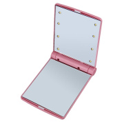 Makeup Mirror,Lady Lighted Vanity Touch Cosmetic Portable Pocket 8 LED Lights ,Pink