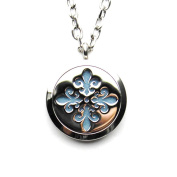 Stainless Steel Floral Carving Aromatherapy Essential Oil Diffuser Necklace Hollow Coin Locket Pendant,10 Felt Pads
