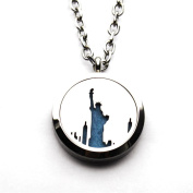 Stainless Steel Statue of Liberty Goddess Aromatherapy Essential Oil Diffuser Perfume Necklace Hollow Carving Locket Pendant
