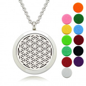 """Flower of Life Diffuser Necklace/30mm Round Stainless Steel Pendant/Lademayh Aromatherapy Essential Oil Locket/24"""" Chain and 12 Pads"""