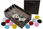 Tree Of Life and Open Lotus Essential Oil Diffuser Necklace Stainless Steel Pendants with 60cm Chains + 12 Refill Pads