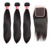 LANDOT Brazilian Virgin Hair Human Hair 3 Bundles with Closure Silky Straight Weave Hair Extension Mixed Length with Free Part Natural Colour