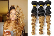Fashion Lady Hair Two Tone 1b/27 Ombre Peruvian Human Hair Black To Blonde Loose Weave 3 Bundles Peruvian Virgin Hair Remy Hair Extensions