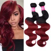 Wome Hair Two Tone 1b/burgundy Ombre Body Wave Hair 1 Bundle 100% Unprocessed Peruvian Vigin Body Wave Human Hair 100g(+/-5g)/pcs