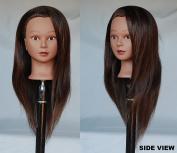 HairZtar 100% Human Hair Ethnic 60cm Mannequin Head Hairdresser Training Head Manikin Cosmetology Doll Head