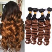 XCCOCO Hair Ombre 1b 30 Loose Weave Human Hair Bundles Brazilian Loose Deep Wave 4 Bundles 400g 7A Virgin Remy Human Hair Dark To Brown Loose Wave Hair