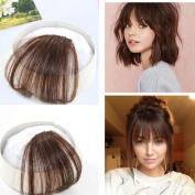 Ugeat 100% Human Hair #6 Medium Brown Air Front Fringe Clip in Hair Extensions One Piece without Hair Temples Striaght Fringe Hairpiece Accessories