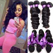 Shireen Hair Grade 8A Brazilian Loose Wave 4 Bundles 14 16 18 50cm 300grams Unprocessed Human Hair Extensions Wet and Wavy Human Hair Natural Black