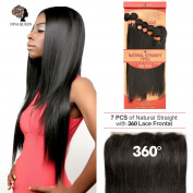 "DIVA QUEEN 7A Brazilian 100% Virgin Human Hair Weaves 7Pcs WITH 360 Lace Frontal Closure(60cm x 10cm X2"") Natural Straight NATURAL colour"