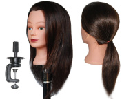 HairZtar 100% Human Hair 46cm Mannequin Head Hairdresser Training Head Manikin Cosmetology Doll Head