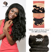 "DIVA QUEEN 7A Brazilian 100% Virgin Human Hair Weaves 7Pcs WITH 360 Lace Frontal Closure(60cm x 10cm X2"") Natural Body Wave NATURAL colour"