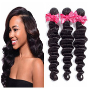 Ms Love Brazilian Loose Wave Virgin Hair 100% Human Hair Extensions 7A Unprocessed Virgin Hair natural black colour (true to length,no tangle)