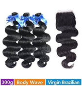 Rechoo Brazilian Virgin Hair 3 Bundles Body Wave with 4x4 Lace Closure Human Hair Extensions Bundles with Closure