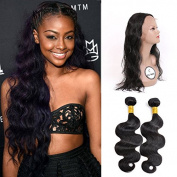FASHIJIA 360 Lace Frontal Closure With Bundles Raw Virgin Indian Human Hair 360 Lace Band Full Frontal Closure Body Wave With Bundle Natural Colour Free Part