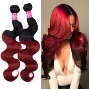 Wome Hair 100% Unprocessed Peruvian Virgin Human Hair Weave Extensions Ombre Hair Body Wave Weft 3 Bundles Colour 1b/burgundy Black +Burgundy (100+/-5g)/pcs