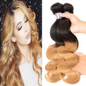 XCCOCO Hair 2 Tone Ombre Body Wave Bundles Dark Roots Honey Blonde End 3 Bundles 300g 1b/27# Unprocessed Brazilain Remy Virgin Human Hair Extensions