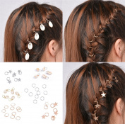 Sc0nni 40pcs Minimalist Gold Silver Pendant Rings Set Hair Clip Headband Hair Accessories, Ring, Shell and Star
