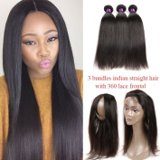 Indian Straight Virgin hair 360 Lace Frontal Closure with Bundles Pre Plucked 360 Lace Frontal with Straight Hair Bundles 8A Indian Human hair with 360 Frontal