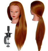 HairZtar 80cm Synthetic Fibre Mannequin Head (Long and Thick) Hairdresser Training Head Manikin Cosmetology Doll Head