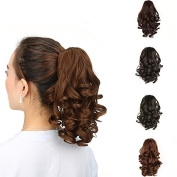 HAIQUAN Womens Soft Wave Hairpiece Clip in Claw Ponytail Black Brown Hair Extension Synthetic Hairpiece with Claw Clip