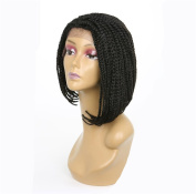 HAIQUAN Black Colour Synthetic Front Lace Wigs Natural Side Full Braids Short Bob Wig for Black Women Natural Straight Replacement Hair Wigs