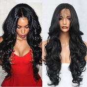 PlatinumHair Synthetic Lace Front Wig #1B Natural Body Wave Heat Resistant Lace Front Wigs For Black Women 60cm