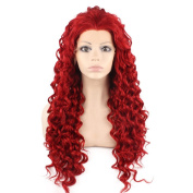 Iewig Long Curly Red Synthetic Hair Front Lace Costume Party Wig