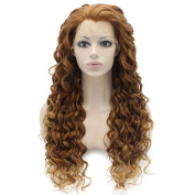 Iewig Long Curly Auburn Blonde Heat Resistant Fibre Hair Lace Front Wig